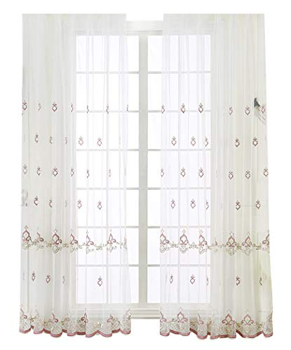 300 Knives Knife Pocket (Aside Bside Embroidery Elegance Style Sheer Curtains Rod Pocket Window Home Decoration Voile Gauze Treatments for Living Room & Bedroom(1 Panel, W 50 x L 72 inch, Pink))