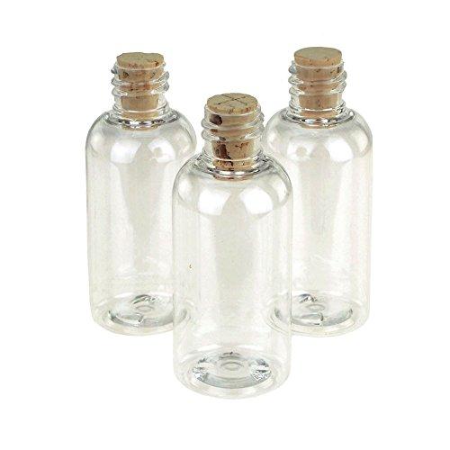 Plastic Pet Corked Jar Bottles, Boston, 3-Inch, 12-Pack
