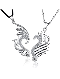 Sterling Silver Couple Necklaces Relationship Heart Friendship Infinity Love Pandant Necklace 14K White Gold Overlay His and Hers Necklaces for Couples, Anniversary, Valentine, Christmas