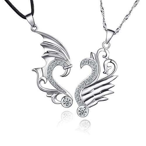 14K White Gold Overlay Silver Couple Necklaces His and Hers Lover Heart Necklace for Anniversary, Valentine, Christmas (Dragon Wings) ()