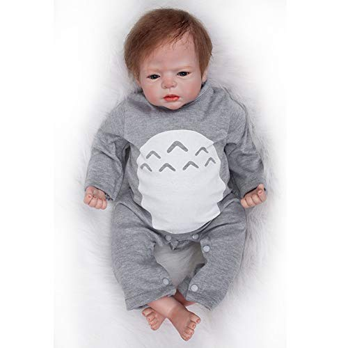 Nicery Reborn Baby Doll Soft Simulation Silicone Vinyl Cloth Body 20-22inch 50-55cm Magnetic Mouth Lifelike Vivid Boy Girl Toy for Ages 3 Gray Hat Nicery-RD55C503-OTD