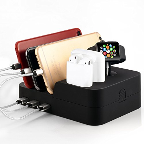 6 Port Universal Usb Charger Dock Station - Use for Apple Watch and iphone, Airpods & all Android Cell Phones, Tablets - Quick Charge - Compact - Multi Device Charging Hub Stations & Organizer by fiezkaa