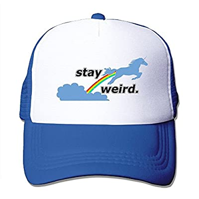 Youth Stay Weird Unicorn Snapback Mesh Caps - Adjustable Mesh Cap by Brecoy