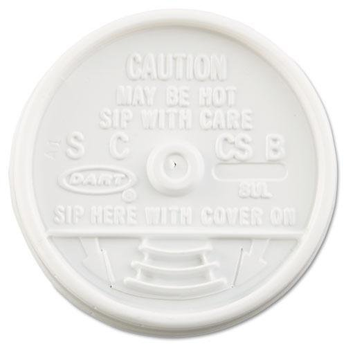 DCC Sip Thru Lids, Fits 6-10oz Cups, White, 1000/Carton (8UL) -