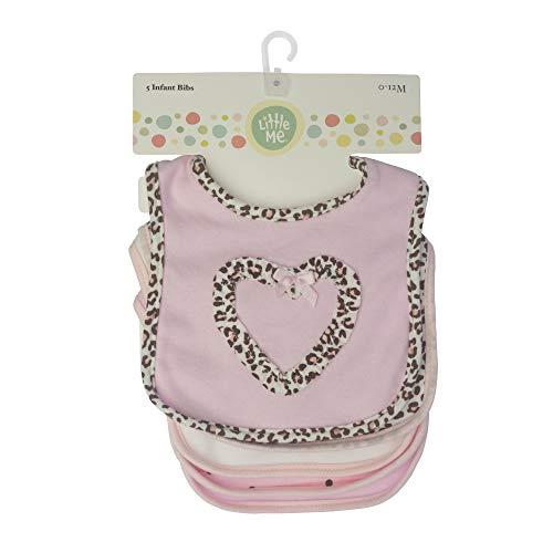 Little Me Little Me 5 Pack Infant Bibs for Girls, Animal & Heart Print, 0-12 Months