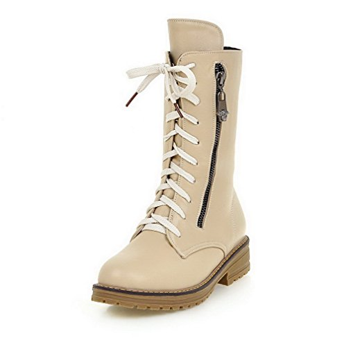 AllhqFashion Womens Solid Low-Heels Round Closed Toe PU Lace-up Boots Beige JfZJJgMY