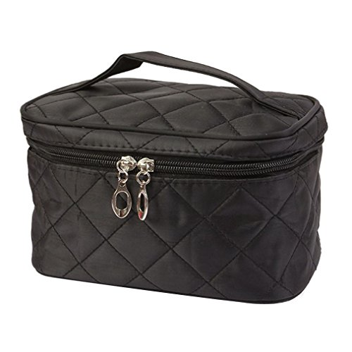Clearance! Bookear PU Leather Cosmetic Bags with Quality Zipper Single Layer Travel Makeup Bags (Black)