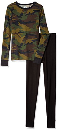 Fruit of the Loom Boys' Big' Waffle Thermal Underwear Set, Camouflage, 14/16