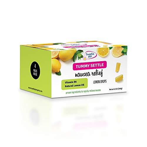 Sweetie Pie Organics Nausea Relief for Pregnant Women Lemon drops Candy Drops for Morning Sickness Nausea Relief, Motion Sickness, Chemo nausea With VIT B6. Lemon 4 pack total 12 OZ