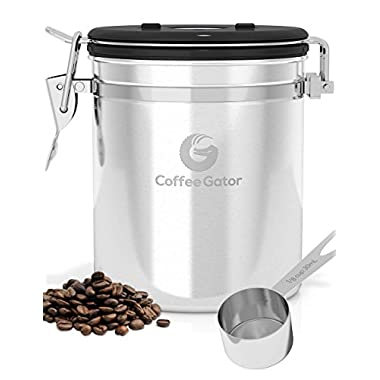 Coffee Gator Coffee Canister with Stainless Steel Scoop