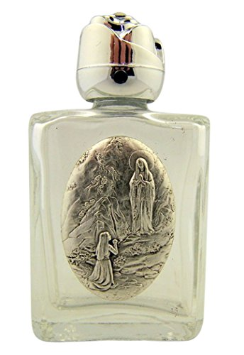 Our Lady Of Lourdes Medals - Glass Holy Water Bottle with Silver Tone Our Lady of Lourdes Medal and Rosebud Lid, 0.5 Ounce
