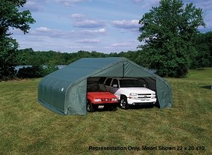 Boat Style Peak (ShelterLogic Peak Style Shed/Storage Shelter - Green, 8ft.L x 11ft.W x 10ft.H, Model# 72854)