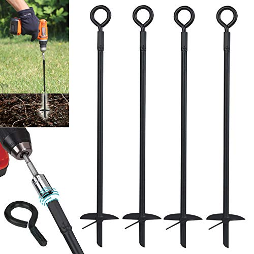 Ashman Black Ground Anchor 15 Inches in Length and 10MM Thick in Diameter, Ideal for Securing Animals, Tents, Canopies, Sheds, Car Ports, Swing Sets (4 Pack)