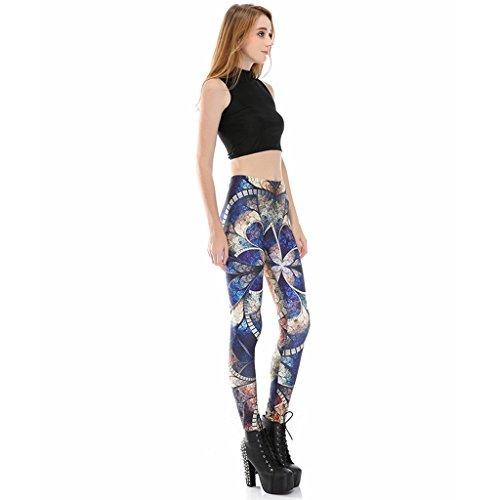 Jiayiqi Mujer Polainas Impresas Funky Elástico Medias Flaco Lápiz Pantalones Lotus