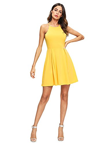 A Women's Dress Yellow Skater Sleeveless Swing Scallop Romwe Sweet Line Pleated Flared 4x11f0