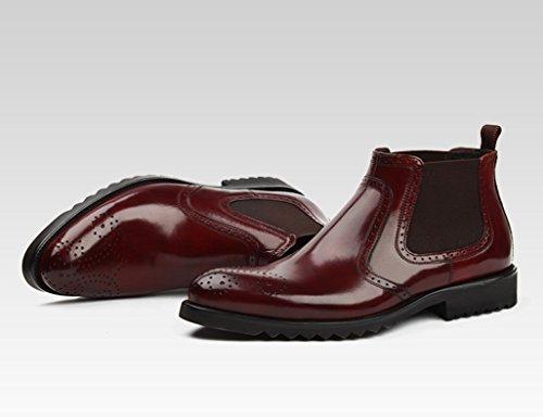 Zapatos Clásicos de Piel para Hombre Zapatos de cuero de los hombres Zapatos de negocios de los altos Zapatos de punta de estilo británico Botas cortas ( Color : Negro , Tamaño : EU43/UK8 ) Vino Rojo