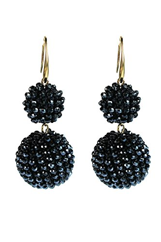 CRYSTAL BEADS TWO SPHERE SHAPE DROP EARRINGS (Jet Blue) - Ball Jet