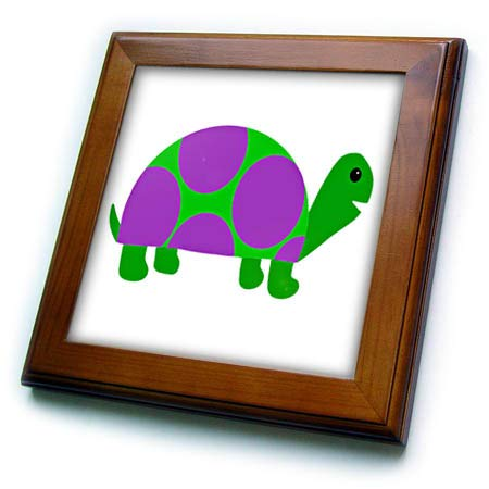 (3dRose AllSouthernDesignTees - Zoo Animals - Silly Amusing Purple and Green Turtle is Popular with Reptile Lovers. - 8x8 Framed Tile (ft_305923_1))