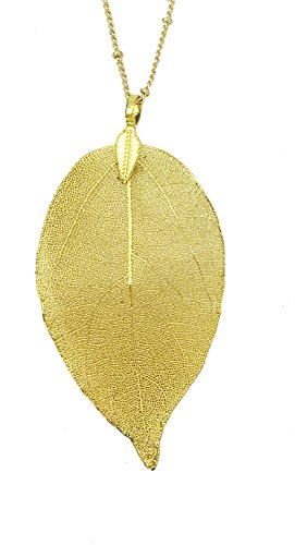 J. Fée Real Natural Leaf Pendant/Earring Women Gold Tone Necklace Luxury Jewelry (Gold Leaf Necklace)