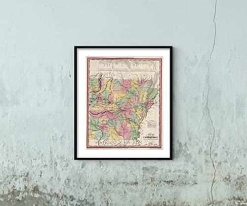 Map World Atlas, Arkansas. 1841 Historic Antique Vintage Reprint Size: 20x24 Ready to ()