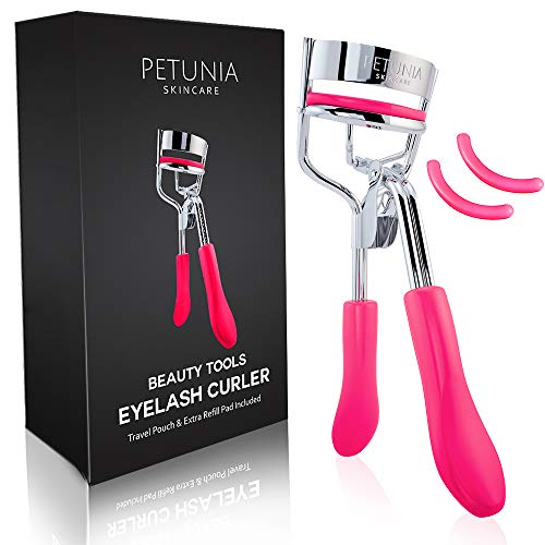 Petunia Skincare Silicone Eyelash Curler With Refill Pads Designed for No Pinching or Pulling and Perfect for Those With Straight Flat Lashes Wanting Dramatic Long Lasting Seamless Curls (Best Eyelash Curler For Short Eyelashes)