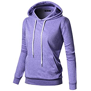 GIVON Womens Comfortable Long Sleeve Lightweight Hoodie with Kanga Pocket