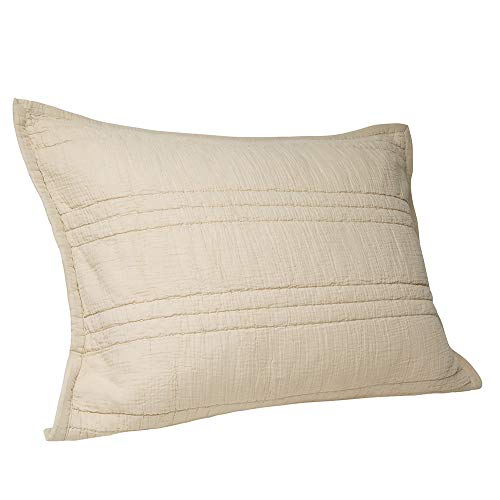 Elegant Life Zen Collection 2 Layers Cotton Crinkle Gauze Stripe Embroidery Washed Pillow Sham, King 20'' x 36'', Khaki