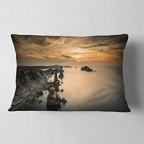 Designart CU7432-12-20 Liencres Rocks on Coast in Spain' Landscape Printed Throw Lumbar Cushion Pillow Cover for Living Room, Sofa, 12 in. x 20 in, Pillow Insert + Cushion Cover Printed on Both Side by Designart