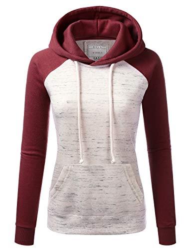 NINEXIS Womens Lightweight Soft Pullover Raglan Fleece Hoodie Sweater Jacket Burgundy X-Large