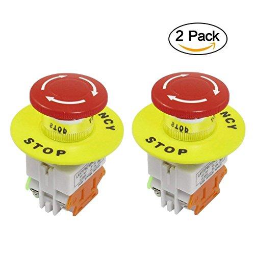 Push Button Mushroom Switch - JMAF 2 Pcs Red Mushroom Cap 1NO 1NC DPST Emergency Stop Push Button Switch AC 660V 10A
