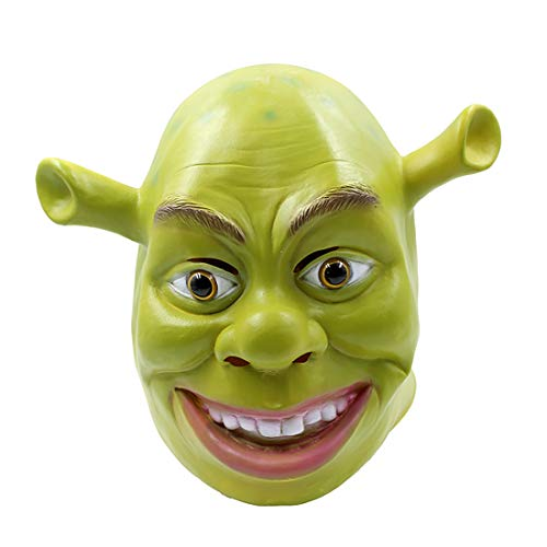 Latex Shrek (Halloween Shrek Head Mask School Color Play Adult Latex Mask Masquerade Movie Theme Green)