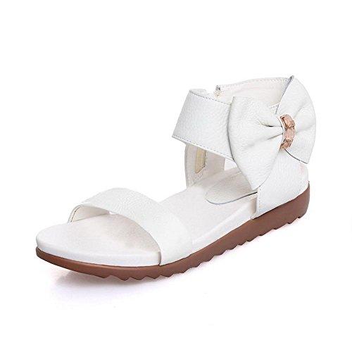 AllhqFashion Mujeres Cremallera Sólido Puntera Abierta Sandalias de vestir con Lazos Blanco