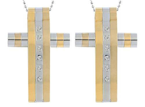 Costumes Star Wars Canada (Daesar 2PCS His & His Matching Set Necklace Stainless Steel CZ Line Convexity Cross With Chain)