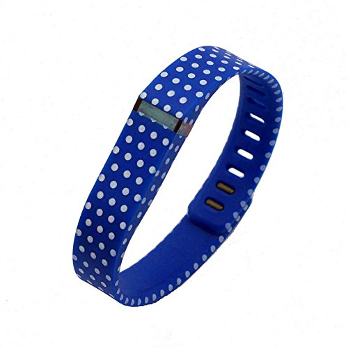 NIUTOP® Fashion Multicolor Wristband Wrist Bands Bracelet Sport Arm Band Armband with Metal Clasps Replacement Accessory for Fitbit Flex Activity and Sleep Tracker (Replacement Bands Only , No Tracker) (Dark Blue with White Dots Spots, Large)