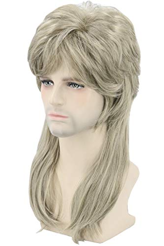 Topcosplay Mens Wigs 80s Mullet Wig Dirty Blonde Wavy Redneck Wig Fancy Party Accessories Disco Rocker Wig ()