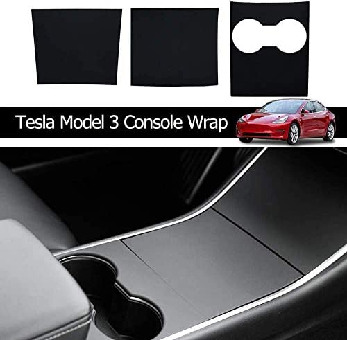 Premium Durable ABS Plastic|4 Pieces ZENIX Tesla Model 3 Y Center Console Protector Cover|Wrap Kit|EV Accessoreis Glossy Carbon Fiber