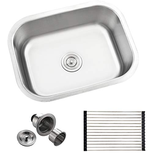 Comllen Best Commercial 304 Stainless Steel 18 Gauge 23 Inch Drop In Kitchen Single Bowl Undermount Kitchen Sinks, Brushed Nickel Kitchen Bar Sink