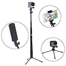 Smatree SmaPole Q3 Telescoping Selfie Stick with Tripod Stand for GoPro Hero 6/5/4/3+/3/2/1/Session Cameras, Ricoh Theta S/V, M15 Cameras, Compact Cameras and Cell Phones