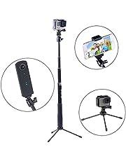 Smatree Ausziehbare Pole/Selfie Stick mit Stativ für GoPro Hero7/ 2018,Hero 6/5/4/3+/3/Session/Fusion für Kompaktkameras/Handys