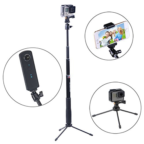Smatree Q3 Telescoping Selfie Stick with Tripod Stand Compatible for GoPro Hero Fusion/8/7/6/5/4/3+/3/Session/GOPRO Hero 2018/DJI OSMO Action Camera,SJCAM,AKASO,Xiaomi Yi and Cell Phone