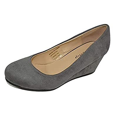 HapHop Women's Classic Almond Toe Mid Heel Wedge Pump Slip On Shoes Grey Size: 6