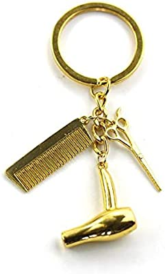 Stylist keychain With Blow Dryer Comb And Scissor Charms Keyring  SA