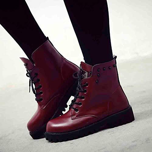 Zapatos Planos Calzado De Mujer Rojo Forradas Casual Plataforma Boots Cuero Logobeing Militares Deportivo Botines Piel Combate Planas Botas Calientes Nieve BFgn6xY