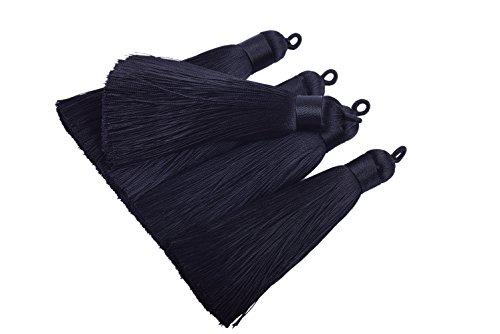 (Konmay 10pcs 3.4''(8.5cm) Handmade Imitation Silk Tassels with Hanging Loop for Jewelry Making (Black))