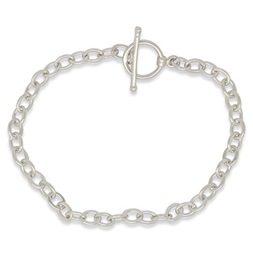FAPPAC Sterling Silver Toggle Cable Chain Link Charm Bracelet, 7 Inch by FAPPAC