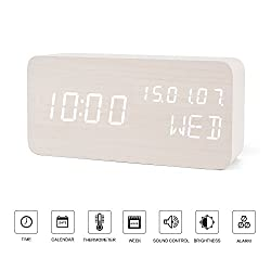 Portable Travel Clock-FiBiSonic LED Digital Alarm Clock USB or Batteries Powered White Color Modern Wood Clock