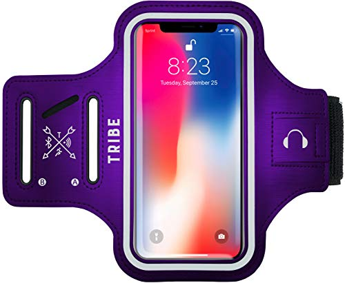 Tribe Water Resistant Cell Phone Armband Case for iPhone 11, 11 Pro Max, Xs Max, Xr, 8 Plus, 7 Plus, 6 Plus, Galaxy S10 Plus, S9 Plus, S8 Plus, Notes and More. Adjustable Elastic Band & Key Slot from Tribe