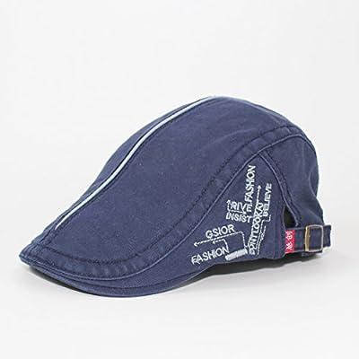 GUYOULY Summer Tide Cap Hommes Beret Sauvage Loisirs Art Chapeau Voyage Cap Forward Hommes et Femmes,56-58Cm,Bleu