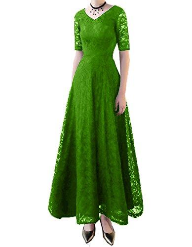 V knoechellang Abendkleider Spitze Ausschnitt Ballkleider A Linie Brautmutterkleider Charmant Kurzarm Grün Damen txvwCqqO
