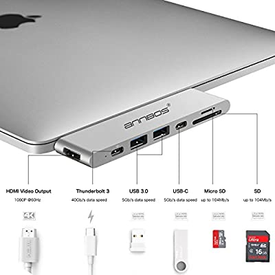 USB-C Hub AnnBos 7-in-1 Type C Hub, with HDMI Port USBC Charging Port, 2 USB 3.0 and 1 USB 2.0 Ports, SD/TF Card Reader, for MacBook Pro and More Type-C Devices